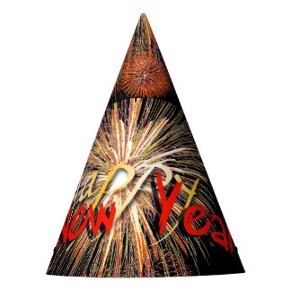 Red Fireworks Happy New Year 2018 Party Hat