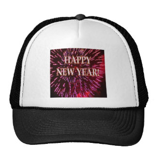 red fireworks new year's trucker hats