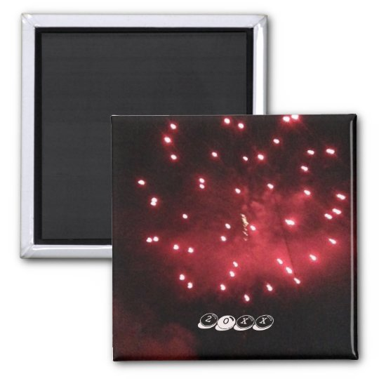 Red Fireworks Night Sky Custom Year Magnets