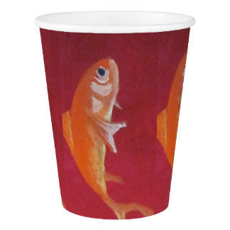 red fish paper cup
