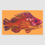 Red Fish Rectangular Sticker