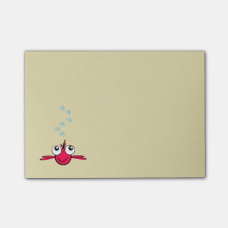 Red Fish with Big Eyes Cartoon Illustration Post-it Notes