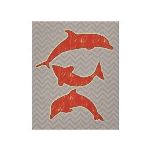 Red Fishes on zigzag chevron - Mono Canvas Print