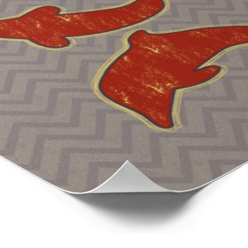 Red Fishes on zigzag chevron - Mono Posters