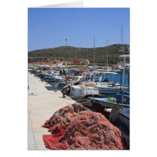 Red Fishing Net and Fishing Boats in Datca Card