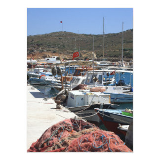 Red Fishing Net and Fishing Boats in Datca Custom Announcement