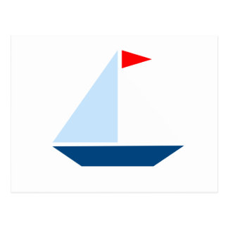 Red Flag Sail Boat Postcard