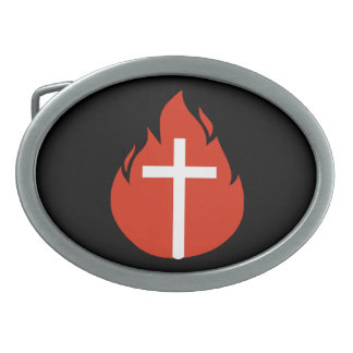 Red Flame Cross Belt Buckle