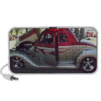 Red Flames and Silver Classic Car Doodle Speaker