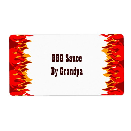 Red Flames BBQ Custom Canning Labels