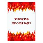 Red Flames Custom BBQ Invitation