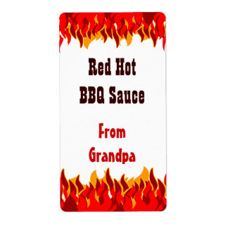 Red Flames Custom Hot Sauce Canning Labels