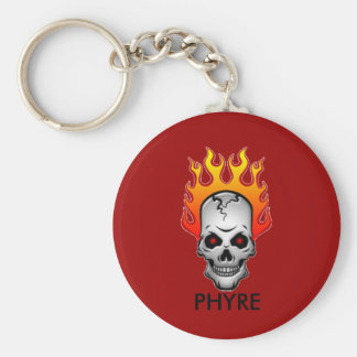 red-flaming-skull PHYRE logo Basic Round Button Key Ring