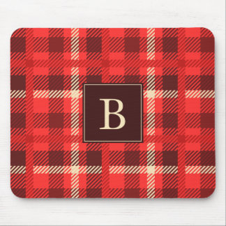 Red Flannel Look Plaid with Monogram Mouse Pad