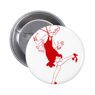 red flapper girl 6 cm round badge