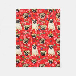 Red Fleece Blanket Pug Print