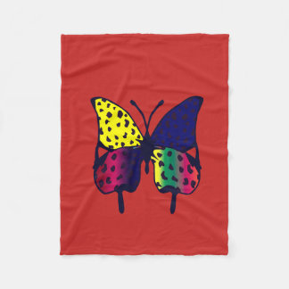 red fleece with butterfly print