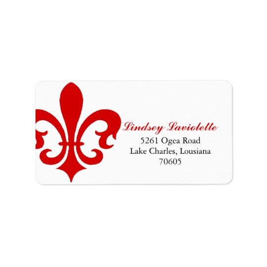 Red Fleur de Lis Address Label