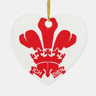 Red Fleur de Lis Ceramic Heart Decoration