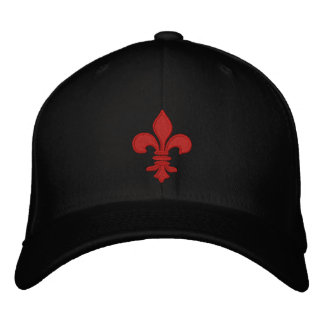 Red Fleur de Lis Embroidered Hat