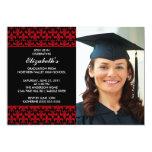 Red Fleur-de-lis Graduation Invitation with Photo