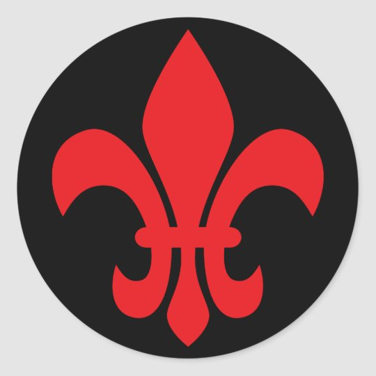 Red Fleur de Lys Classic Round Sticker