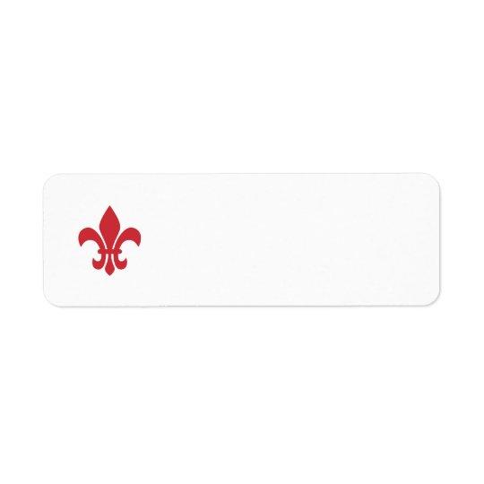 Red Fleur de Lys Return Address Label