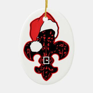 Red Fleur de Santa Double-Sided Oval Ceramic Christmas Ornament