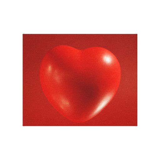 Red Floating Heart Wrapped Canvas Canvas Prints