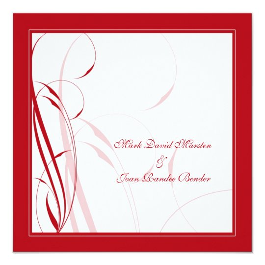 Red Floral 3 Wedding Card