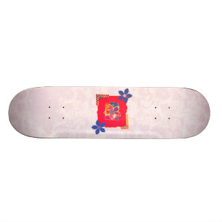 Red Floral abstract art Skate Boards