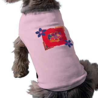 Red Floral abstract art Sleeveless Dog Shirt