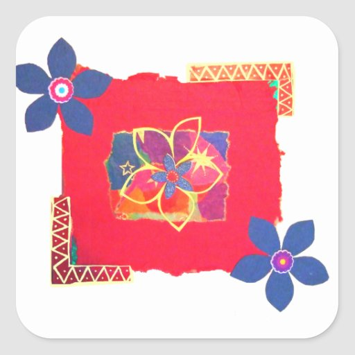 Red Floral abstract art Stickers