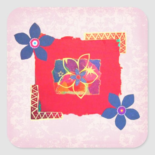 Red Floral abstract art Square Stickers