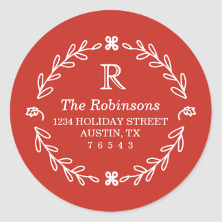 Red Floral Address Stickers