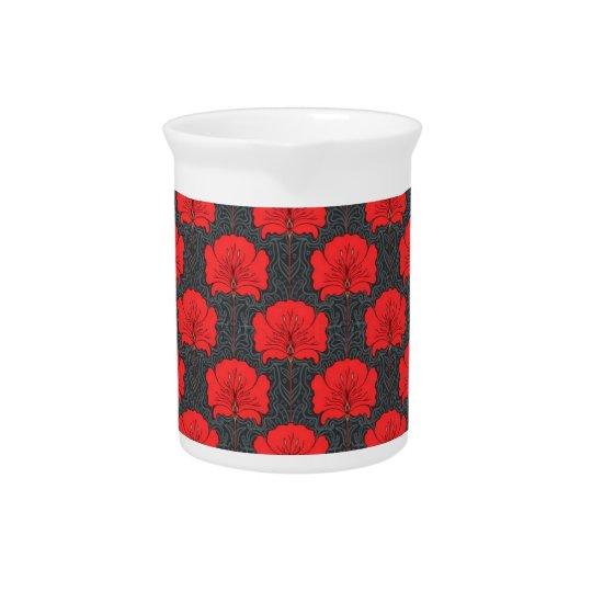 Red Floral Art Nouveau Porcelain Pitcher