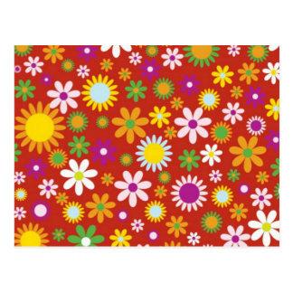 Red Floral Art Postcard