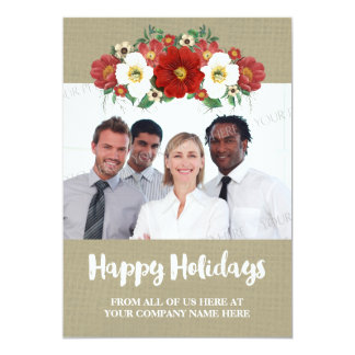 Red Floral Burlap Business Christmas Photo Card