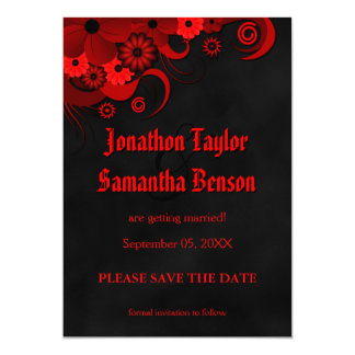 Red Floral Chalkboard Save The Date Announcements