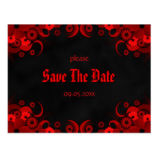 Red Floral Chalkboard Save The Date Announcements Postcard