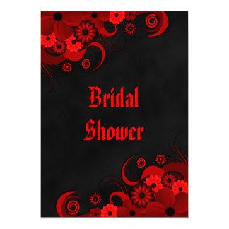 Red Floral Chalkboard Wedding Bridal Shower Invite