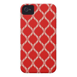 Red Floral Damask Blackberry Case