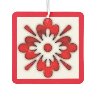 Red floral design new car air freshener