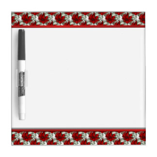 Red Floral Dry Erase Board with Pen