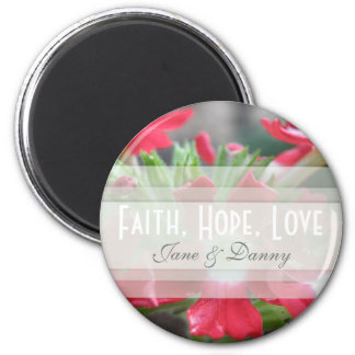 Red Floral Faith, Hope, Love Magnet