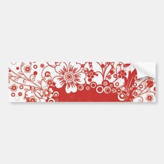 Red Floral Frame Vector Illustration Bumper Sticker