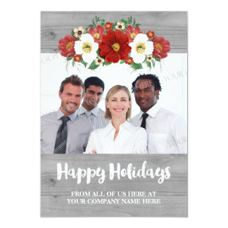 Red Floral Grey Wood Business Christmas Photo Card