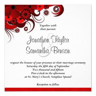 """Red Floral Hibiscus Custom Wedding Invitation 5.25"""" Square Invitation Card"""