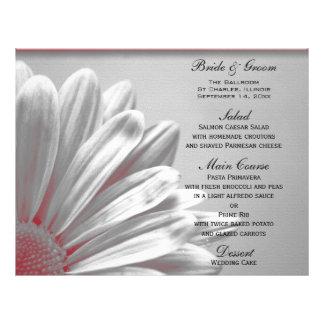 Red Floral Highlights Wedding Menu Flyer Design