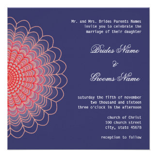 Red Floral Lace on Aquamarine Blue Custom Invitation